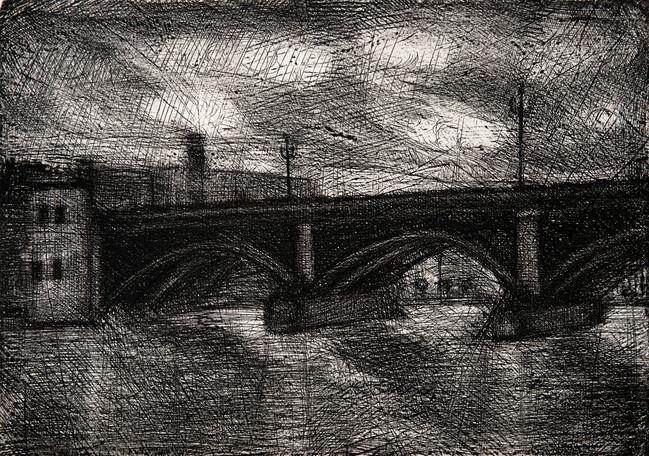 Puente en Sevilla, 2021  Medida de la placa: 24.5x35 cm  Medida total del papel: 34x54 cm  Técnica: Aguafuerte  Edición: 24 grabados numerados $9,280 MXN