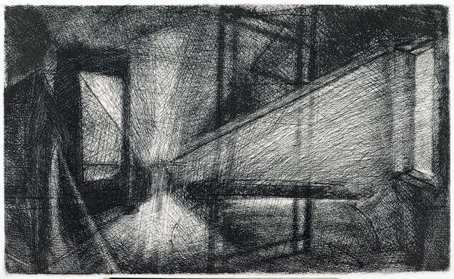Interior con espejo Medida de la placa: 24x39 cm  Medida total del papel: 40x54 cm  Técnica: Aguafuerte  Edición: 13 grabados numerados $15,080 MXN