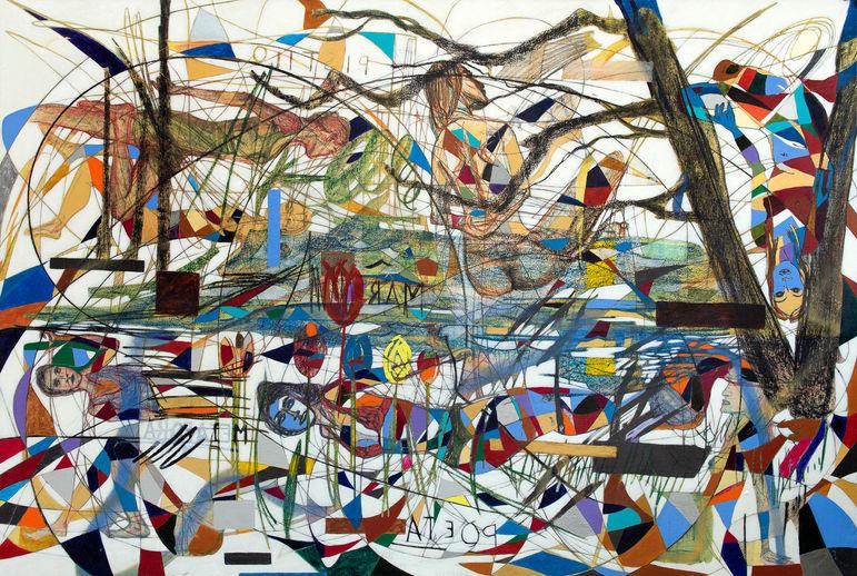 Lago de Heráclito, 2020  160x238 cm.  Acrílico, grafito y papel sobre tela