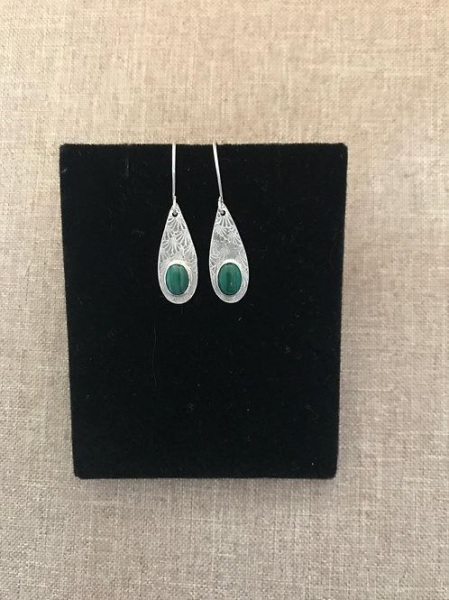 'Green Teardrops' Malachite Earrings