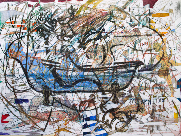 Res extensa, 2017  150x200 cm.  Acrílico, grafito y papel japonés sobre tela.