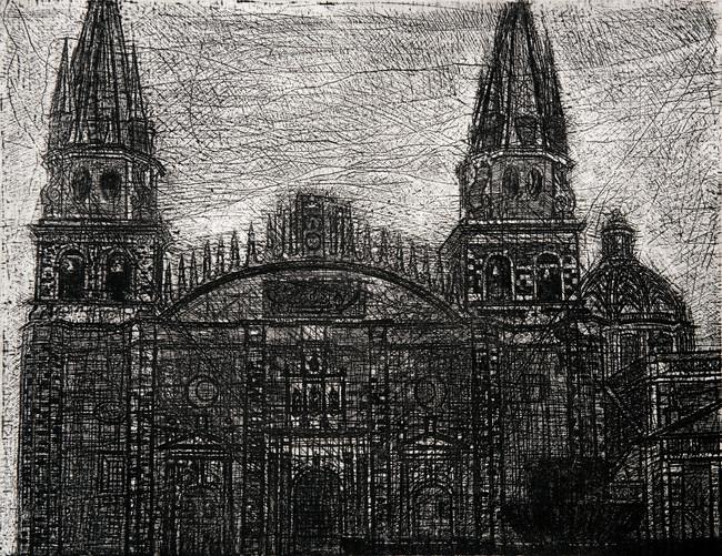 Catedral Medida de la placa: 37x49 cm  Medida total del papel: 49x55 cm  Técnica: Aguafuerte  Edición: 13 grabados numerados $11,600 MXN