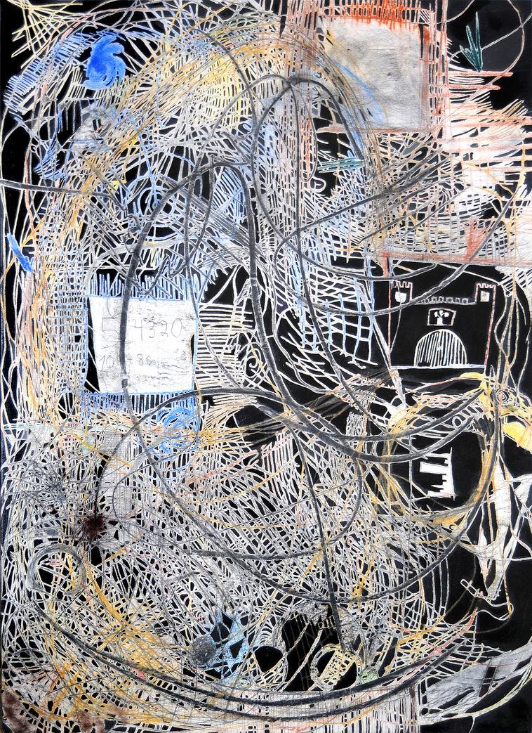 Hilo de Ariadna 183x140 cm Grafito y lápiz de color sobre tela