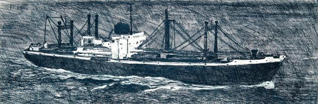 Barco ebrio, 2021  Medida de la placa: 33x100 cm   Medida total del papel: 45x114 cm Técnica: Aguafuerte Edición: 18 grabados numerados $22,000 MXN