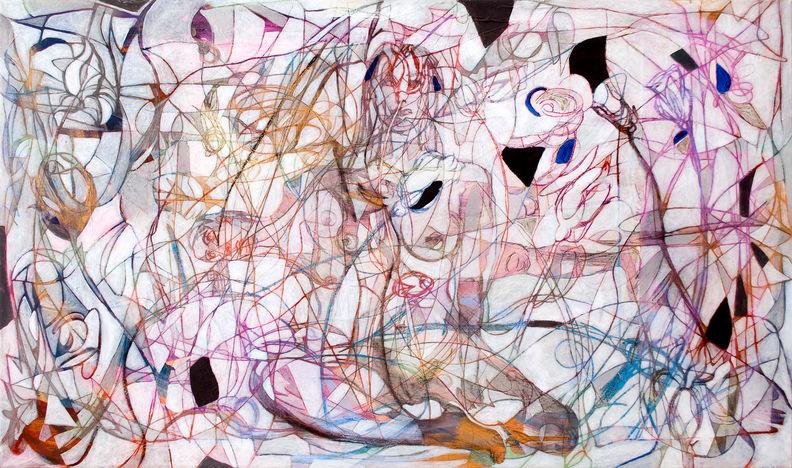 Canto de sirenas, 2014 82x139 cm Acrílico y papel japonés sobre tela