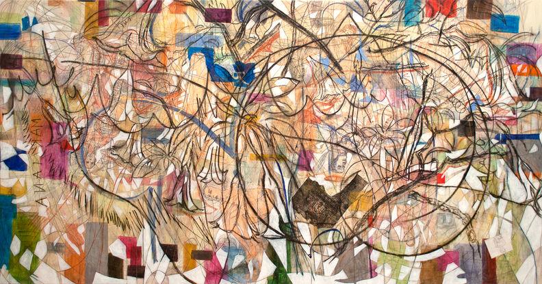 Retorica de Mar, 2014 220x420 cm. Acrílico, grafito y papel japonés sobre tela