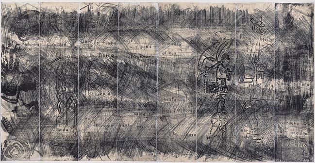 Poema en lámina  Medida de la placa: 40x78 cm  Medida total del papel: 54x108 cm  Técnica: Aguafuerte  Edición: 14 grabados numerados  $23,200 MXN