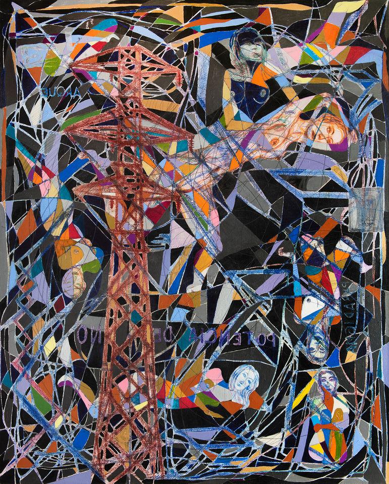 Torre de luz, 2021  150x120 cm. Acrílico, grafito y papel sobre lino