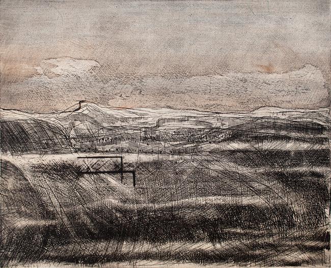 Tercer paisaje escrito  Medida de la placa: 42x52 cm  Medida total del papel: 78x54 cm  Técnica: Aguafuerte  Edición: 13 grabados numerados $15080 MXN
