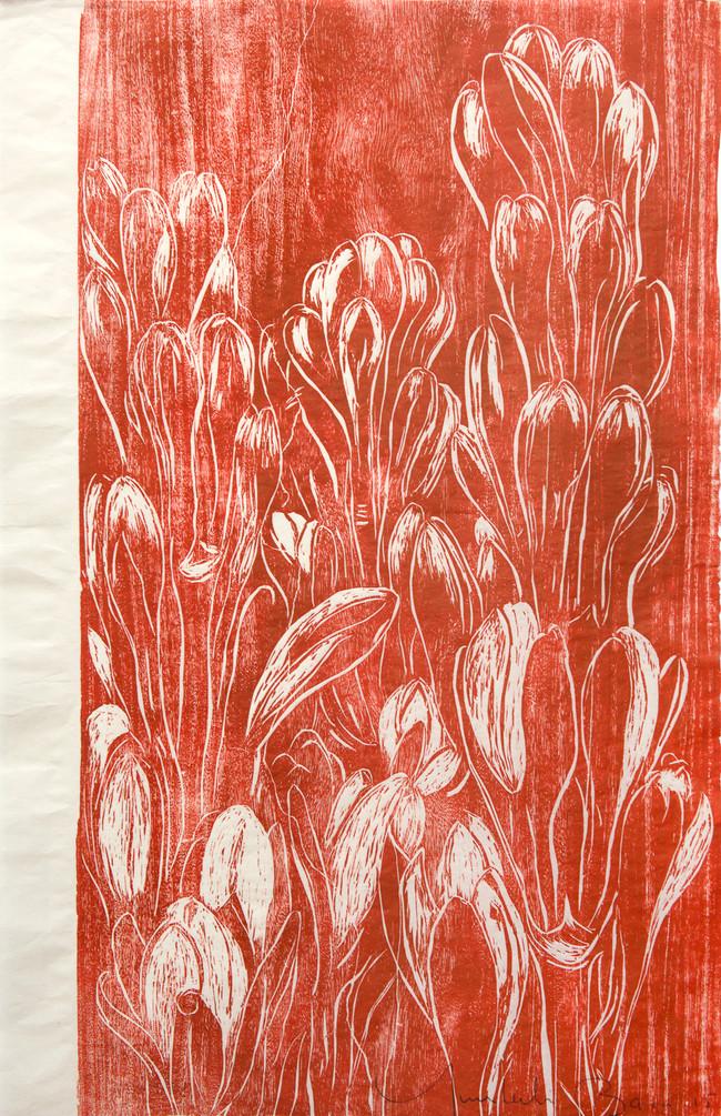 Nardos rojos Medida de la placa: 96x63 cm  Técnica: Xilografía  Edición: 13 obras numeradas $18,560 MXN