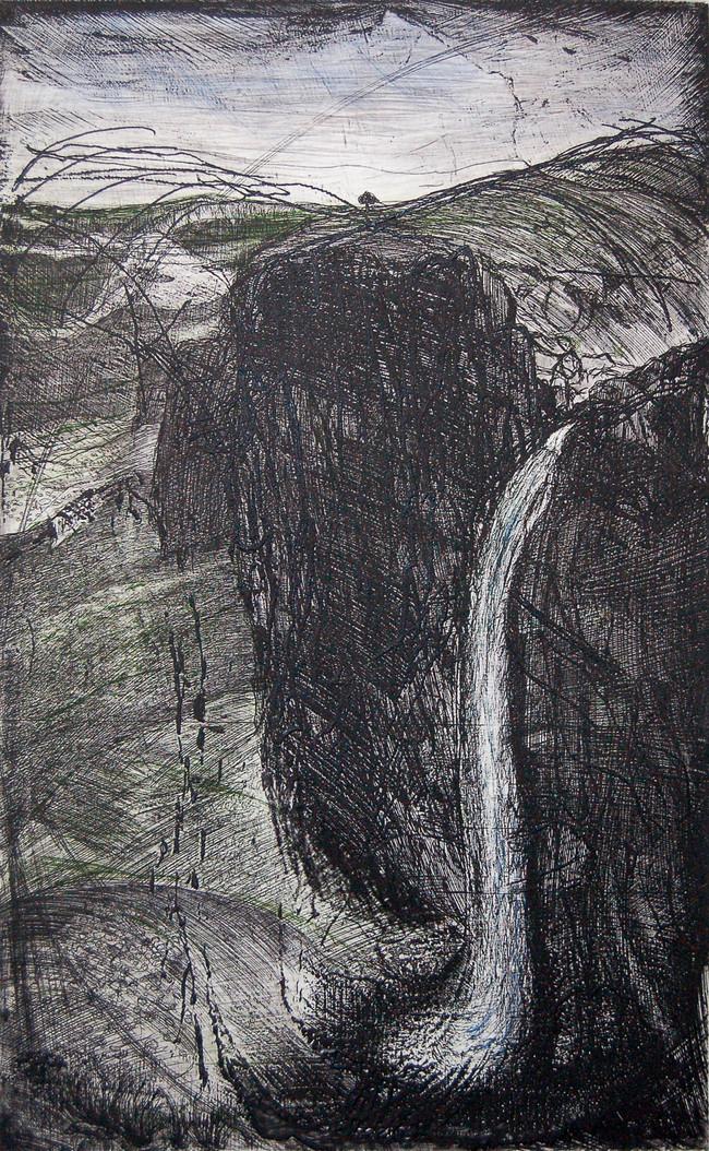 Cascada  Medida de la placa: 79x49 cm  Medida total del papel: 108x67 cm  Técnica: Aguafuerte y punta seca  Edición: 18 grabados numerados $18,560 MXN