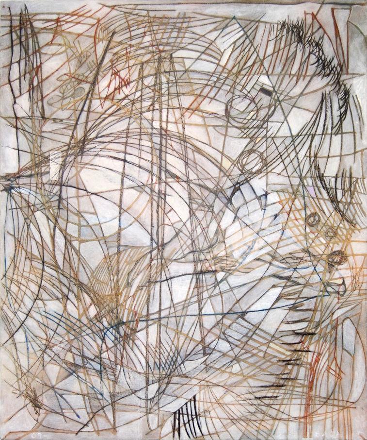 Lo que quedó de Moni 120x100 cm Acrílico, grafito y lápiz de color sobre tela