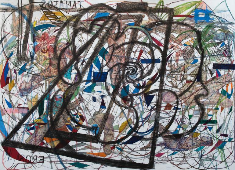 Carril de nado 213x239 cm. Acrílico, grafito y papel japonés sobre tela