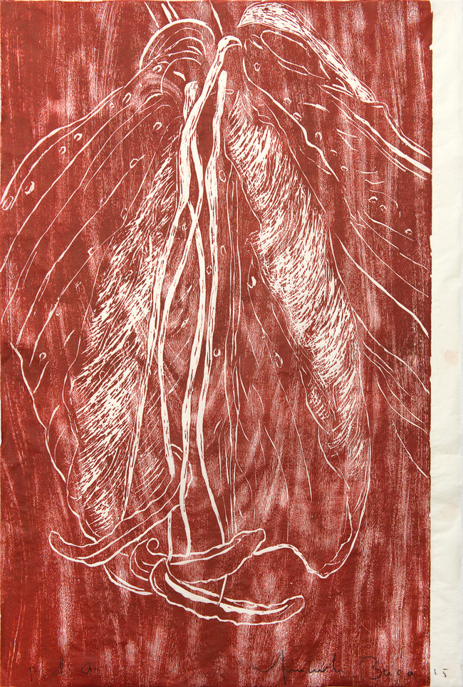 Lili roja Medida de la placa: 95x64 cm  Técnica: Xilografía  Edición: 13 obras numeradas $18,560 MXN