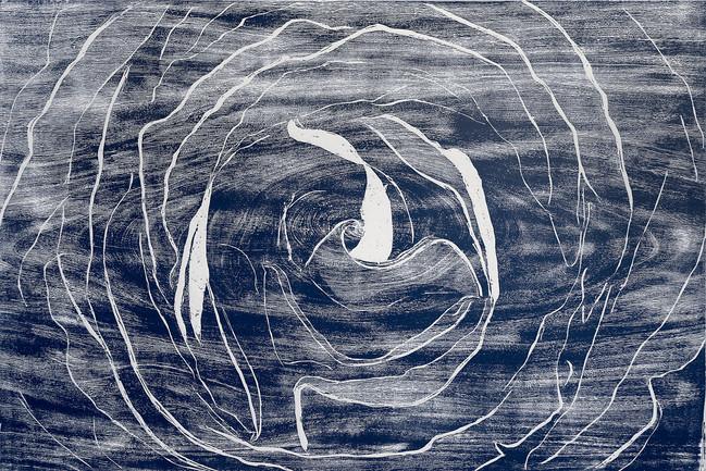 Rosa en azul Medida de la placa: 59x80 cm  Técnica: Xilografía  Edición: 24 obras numeradas $13,920 MXN