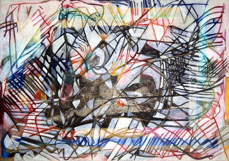 Emanuelle 76x108 cm Acrílico, grafito y papel sobre tela