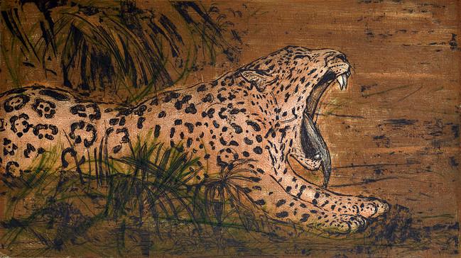 Jaguar Medida de la placa: 26x45 cm  Medida total del papel: 42x80 cm  Técnica: Aguafuerte y punta seca  Edición: 13 grabados numerados $18,560 MXN