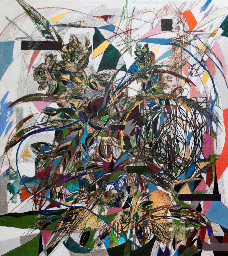 Cannabis, 2020  140x125 cm.  Acrílico, grafito y papel sobre tela.