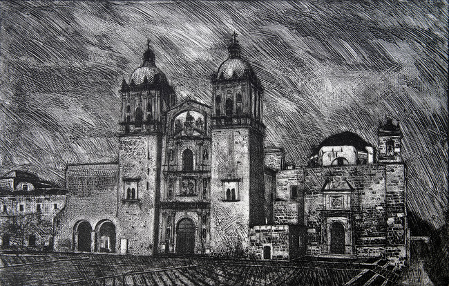 Santo Domingo en Oaxaca  Medida de la placa: 49x77 cm  Medida total del papel: 80x108 cm  Técnica: Aguafuerte  Edición: 24 grabados numerados $24,360 MXN