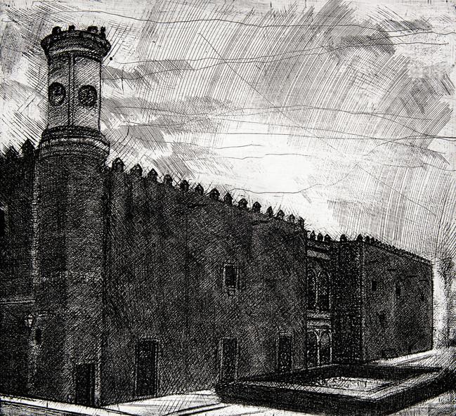 Palacio de Cortés Medida de la placa: 44x49 cm  Medida total del papel: 72x79 cm  Técnica: Aguafuerte  Edición: 20 grabados numerados $12,760 MXN