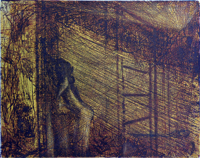 Beatriz en la ventana Medida de la placa: 39x50 cm  Medida total del papel: 50x74 cm  Técnica: Aguafuerte  Edición: 18 grabados numerados $15,080 MXN