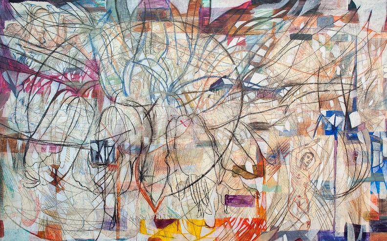 Nereidas, 2014 167x267 cm Acrílico, grafito y papel japonés sobre tela