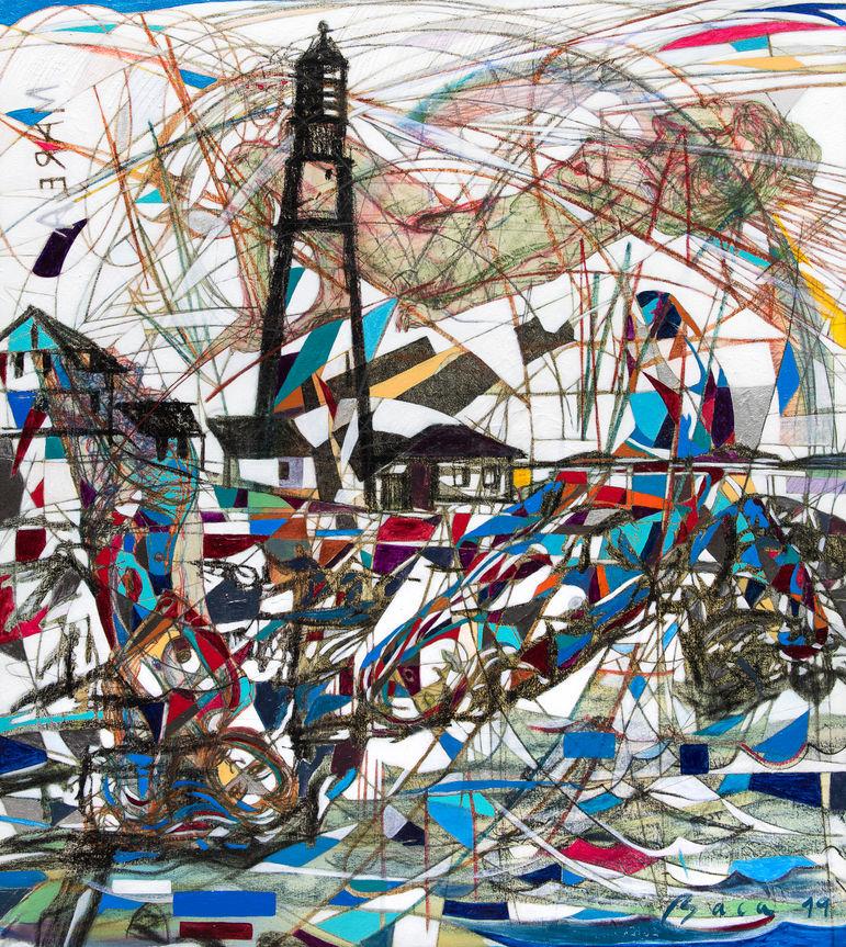 Faro y marea, 2019  140×125 cm.  Acrílico, grafito y papel japonés sobre tela.