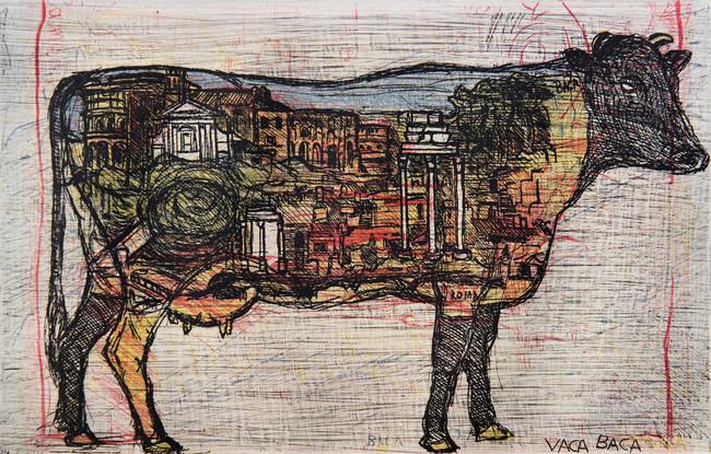 Vaca Baca Medida de la placa: 17x27 cm  Medida total del papel: 30x45 cm  Técnica: Aguafuerte  Edición: 14 grabados numerados $15,080 MXN
