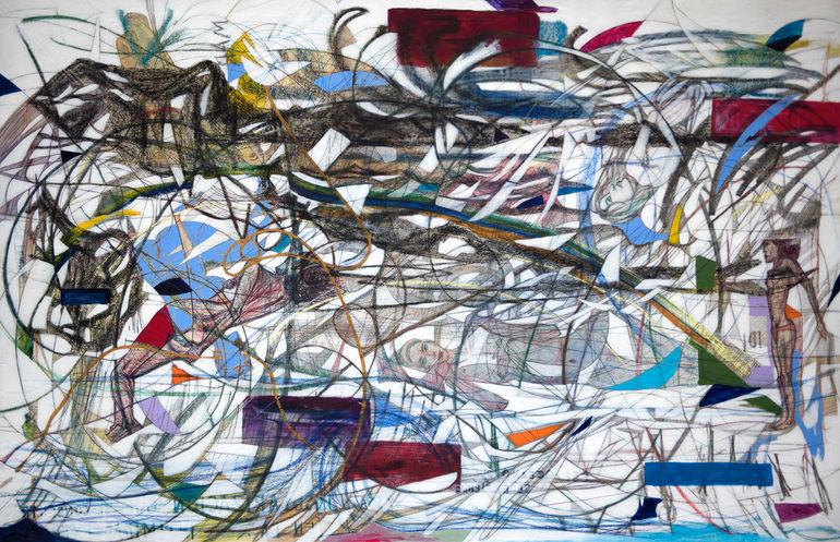 Baca Montaña tensa, 2019  180x283 cm.  Acrilico, grafito y papel japonés sobre tela