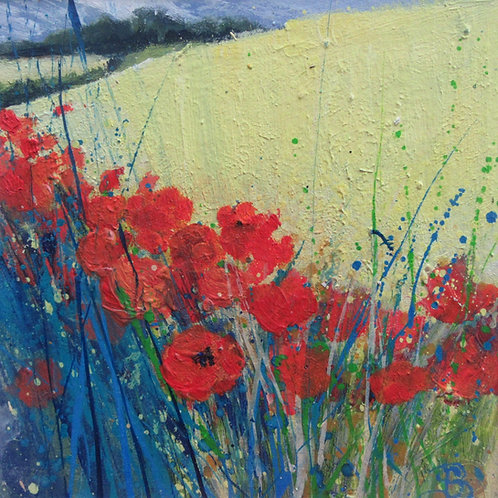 Ripe Wheat, Bright Poppies, and blue sky above