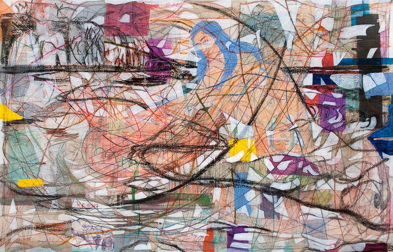 Mar y Ana, 2014 90x140 cm Acrílico y papel japonés sobre tela