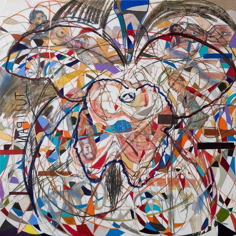 Pan y las musas, 2020  200x200 cm.  Acrílico, grafito y papel sobre tela.