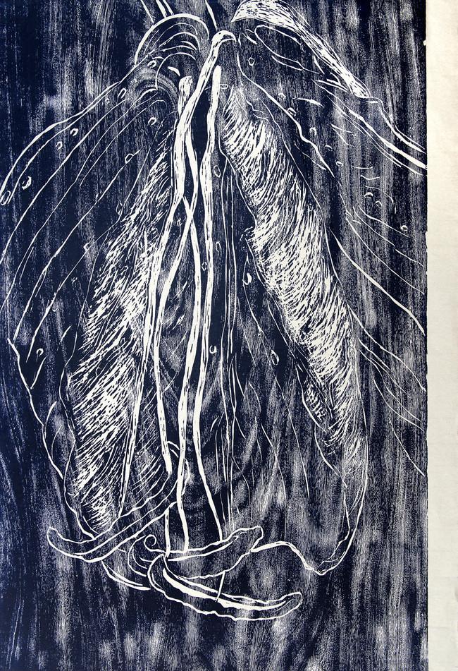 Lili azul Medida de la placa: 95x64 cm  Técnica: Xilografía  Edición: 13 obras numeradas $18,560 MXN