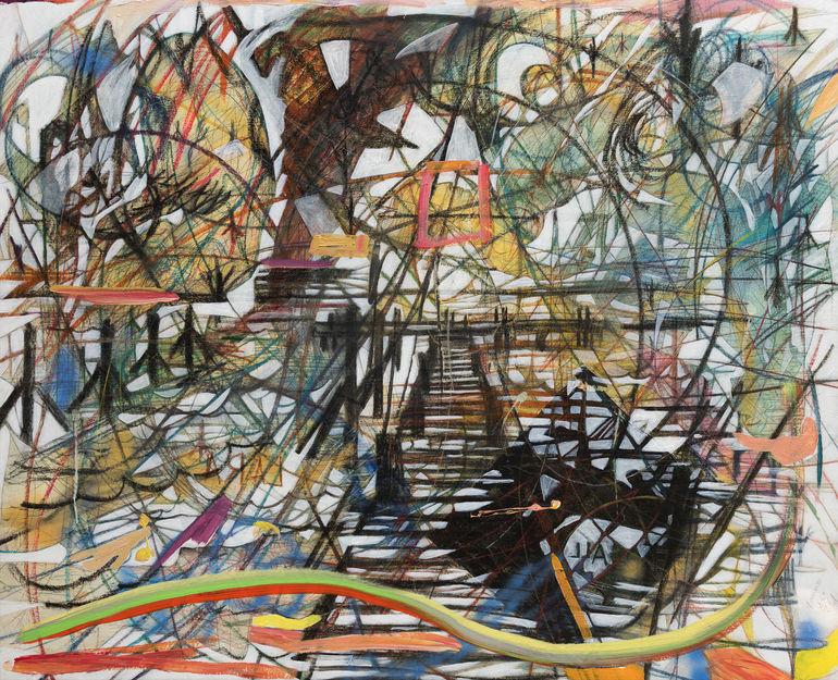 Nereida, 2018  150x185 cm.  Acrílico, grafito y papel sobre tela