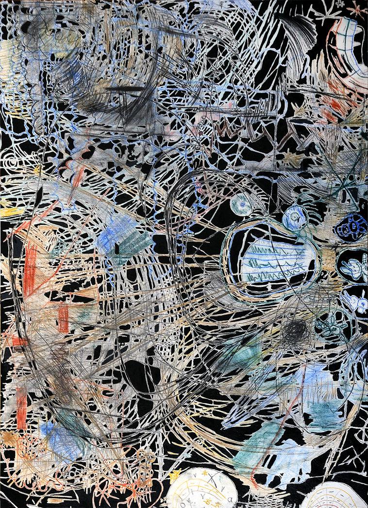 Dos rayitas multiplicadas 186x140 cm. Grafito, lápiz de color y acrílico sobre tela