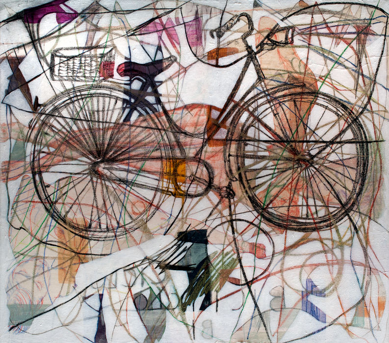 Bicicleta, 2014 80x90 cm Acrílico, grafito y papel japonés sobre tela