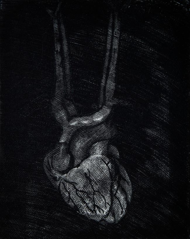 Corazón convento  Medida de la placa:  cm  Medida total del papel:  cm  Técnica: Aguafuerte  Edición: 24 grabados numerados  $12,760 MXN