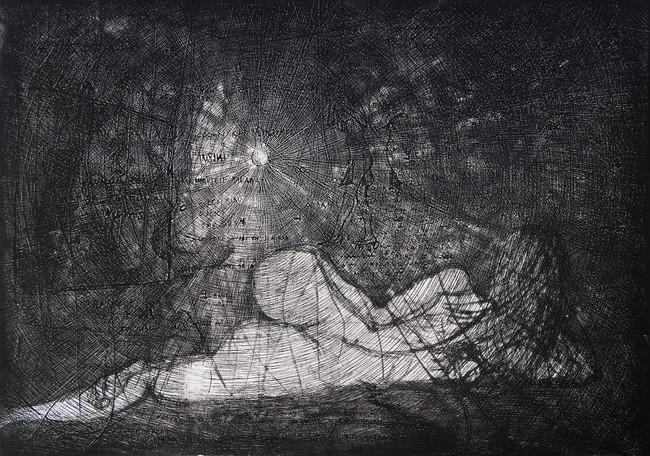 Alimón con Emanuel  Medida de la placa: 49x69 cm  Medida total del papel: 80x108 cm  Técnica: Aguafuerte  Edición: 18 grabados numerados $29,000 MXN