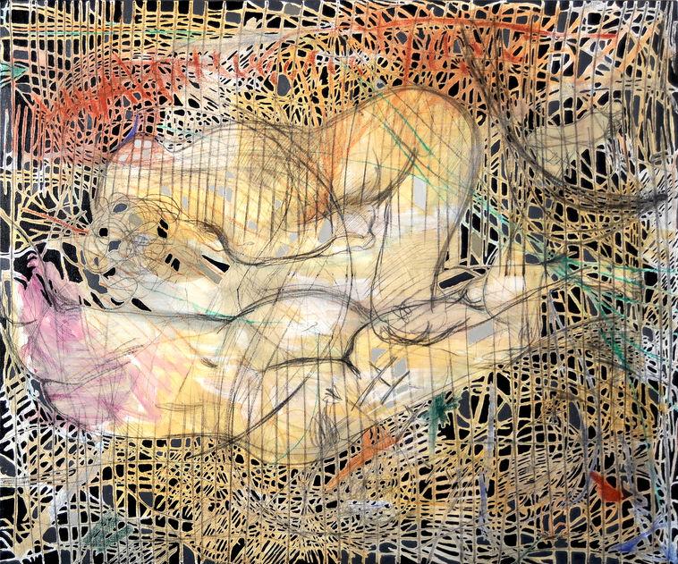 Tres siluetas 100x120 cm Acrílico y grafito sobre tela