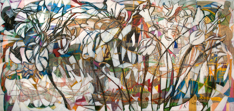 Mar de flores, 2014 134x280 cm Acrílico, grafito y papel japonés sobre tela
