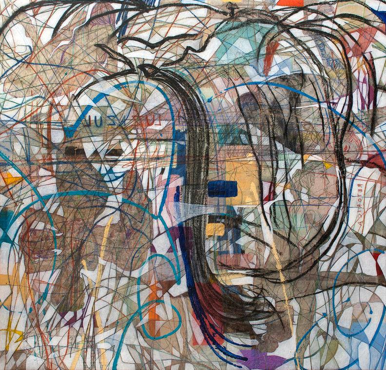 Mar azul, 2014 136x142 cm Acrílico, grafito y papel japonés sobre tela