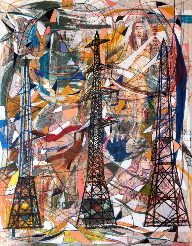 Tres torres de luz, 2021  189x147 cm. Acrílico, grafito y papel sobre tela
