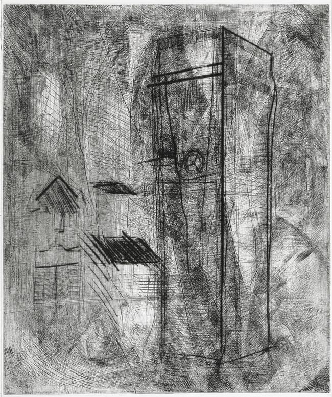 La torre de los grillos  Medida de la placa: 59x49 cm  Medida total del papel: 82x60 cm  Técnica: Aguafuerte  Edición: 13 grabados numerados $22,040 MXN