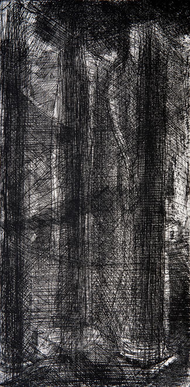 Columnas del Degollado  Medida de la placa: 50x24 cm  Medida total del papel: 70x50 cm  Técnica: Aguafuerte  Edición: 13 grabados numerados $12,760 MXN
