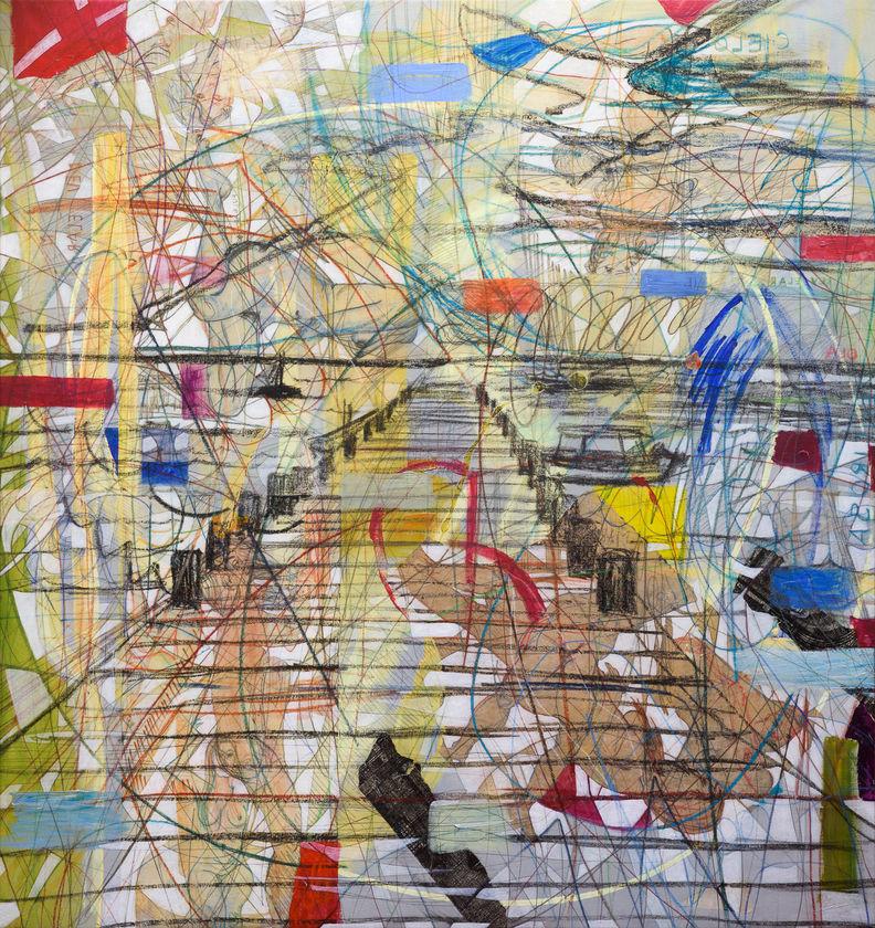Muelle, 2015 180x170 cm Acrílico y papel japonés sobre tela