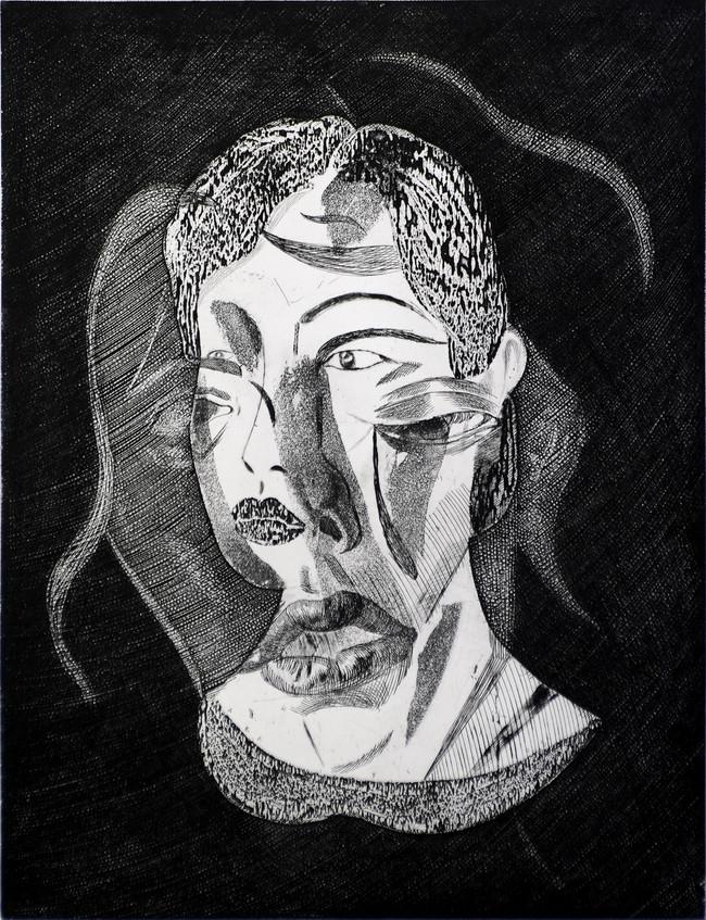 Mujer de dos caras, alimón con Fors Medida de la placa: 64x49 cm  Medida total del papel: 79x66 cm  Técnica: Aguafuerte  Edición: 18 grabados numerados $23,200 MXN