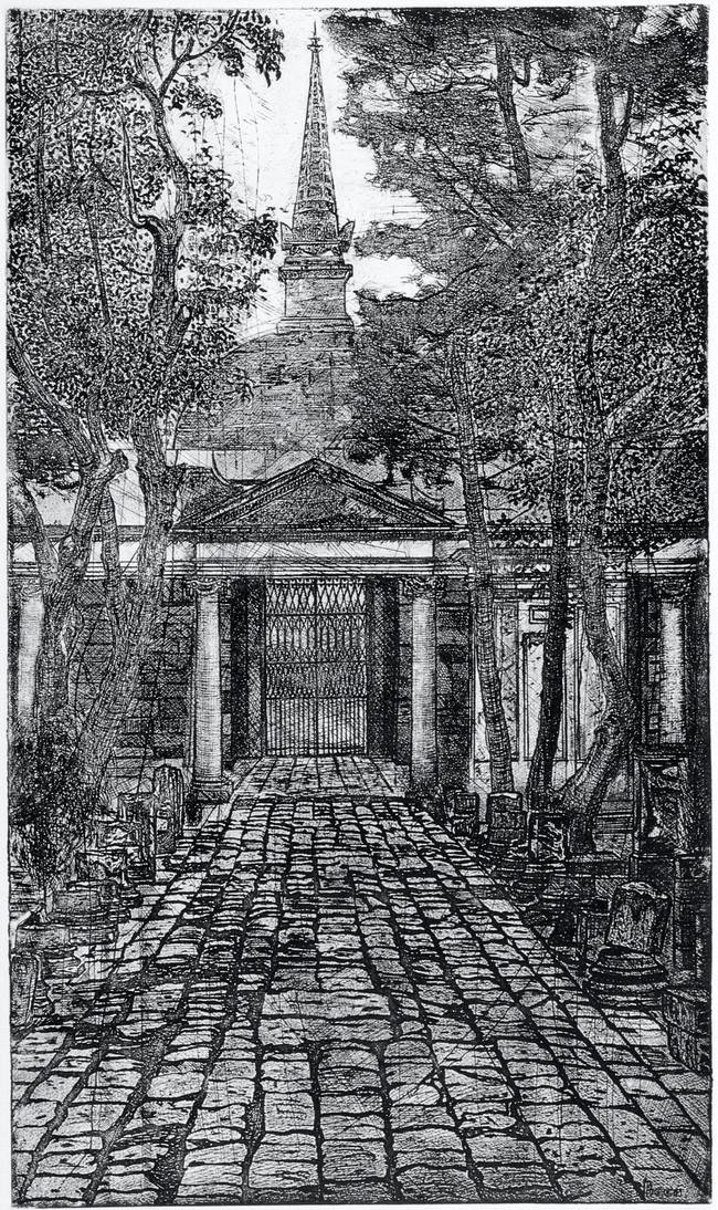 Interior del Panteon de Belén  Medida de la placa: 83x50 cm  Medida total del papel: 107x69 cm  Técnica: Aguafuerte  Edición: 13 grabados numerados $24,360 MXN