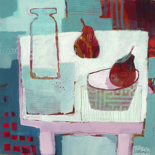 Glass Vase and Pears