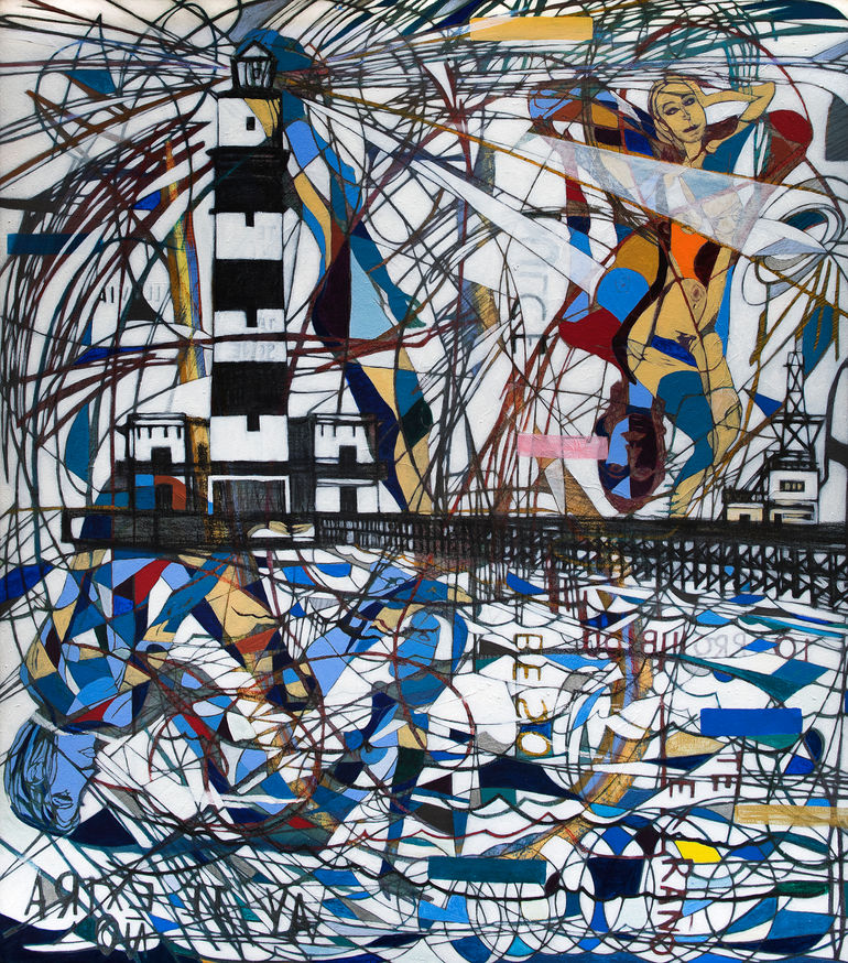 Faro que extraña, 2019  153x135 cm.  Acrílico, grafito y papel japonés sobre tela.