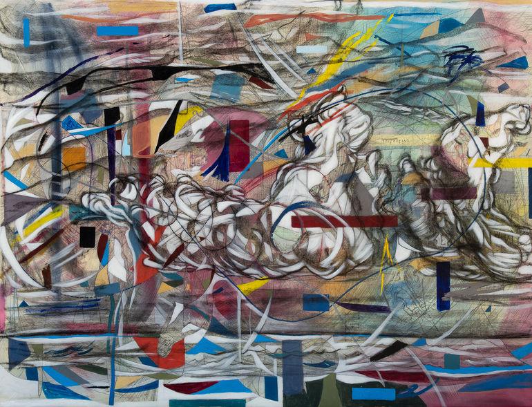 Nimbus, 2020  200x260 cm  Acrílico, grafito y papel sobre tela.